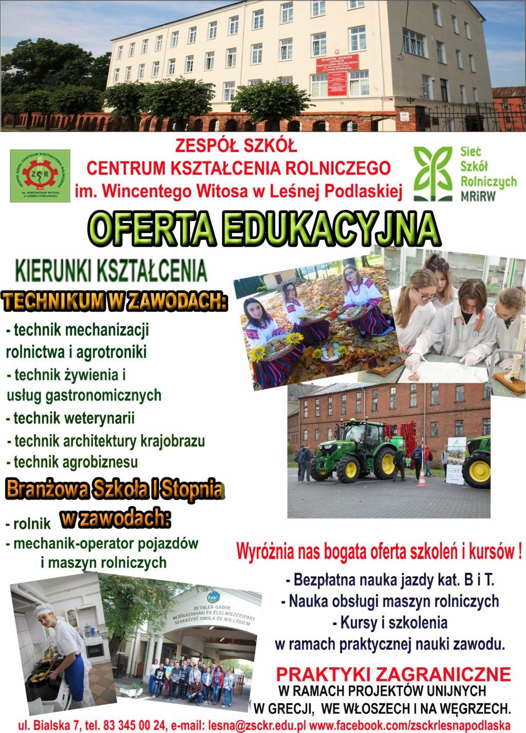 Zdobądź zawód z przyszłością- oferta edukacyjna ZSCKR w Leśnej Podlaskiej